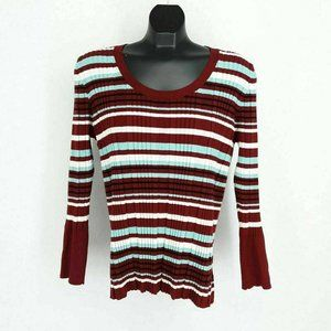 Lane Bryant Women's Sweater Ribbed Striped Long Sl